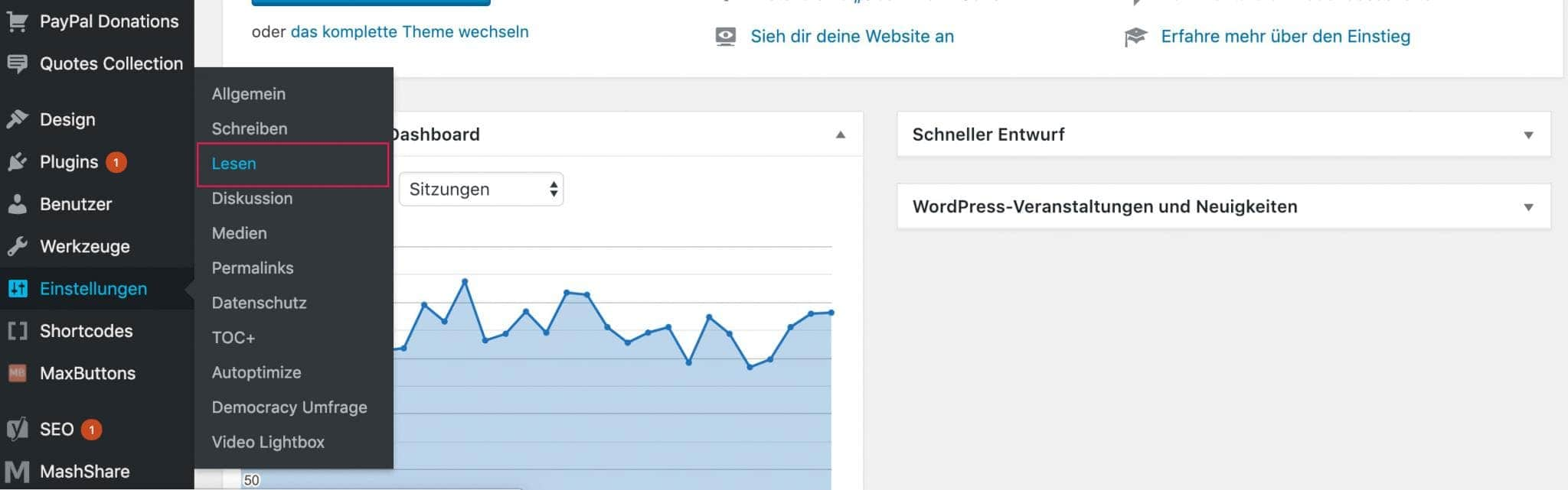 wordpress-startseite-festlegen