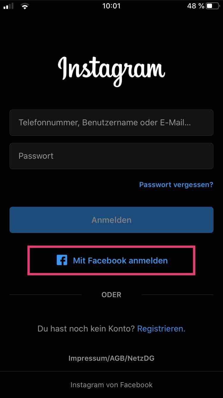 Instagram Account mit Facebook erstellen