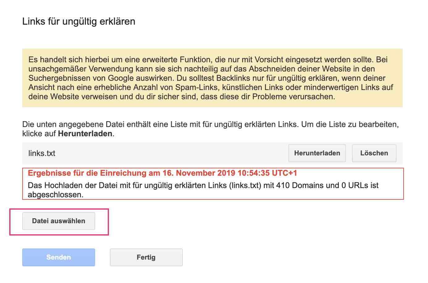 Google Disavow Tool Backlinks entwerten