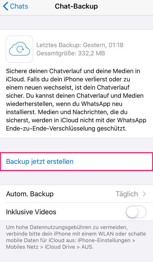 Whatsapp Backup erstellen