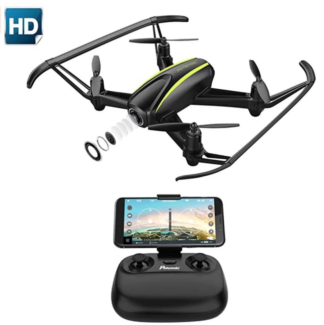 Potensic Drohne mit HD Kamera, WiFi-HD-Kamera Live Übertragung und Langer Flugzeit