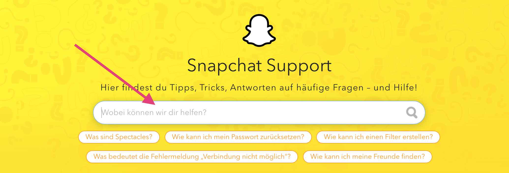 Snapchat Support Seite