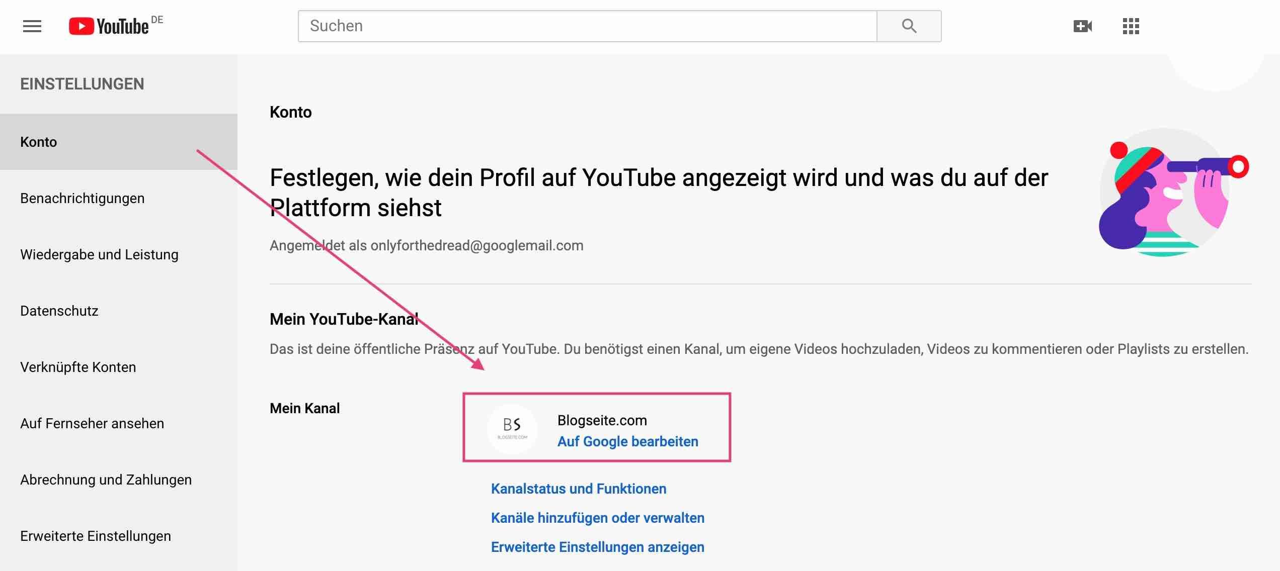 Youtube Kanal Name auf Google ändern