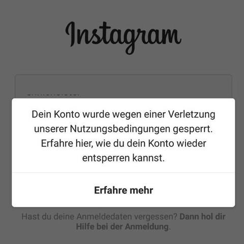 instagram account gesperrt meldung