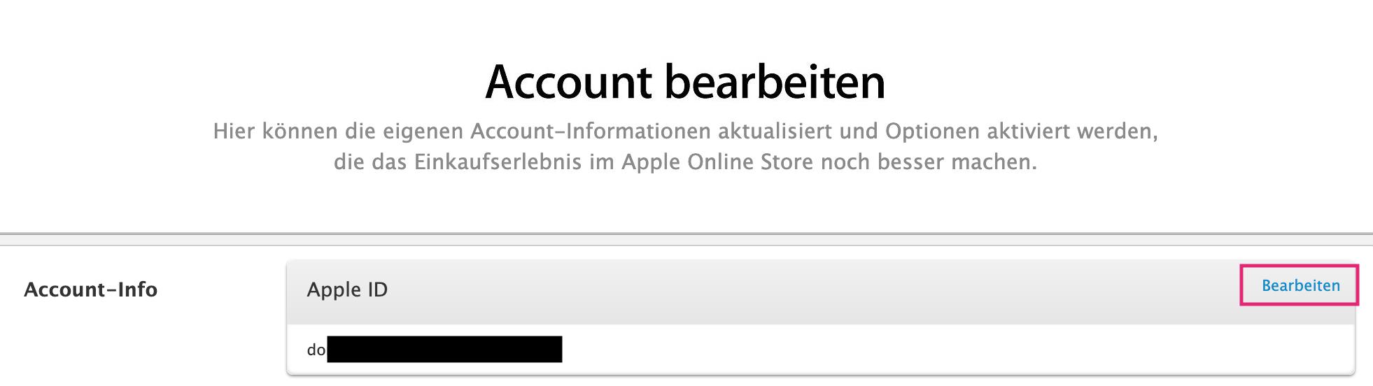 Apple ID im Account ändern