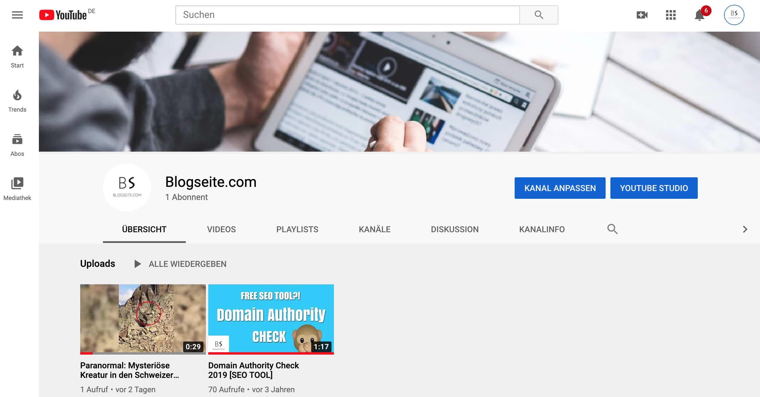 Youtube Kanal anpassen