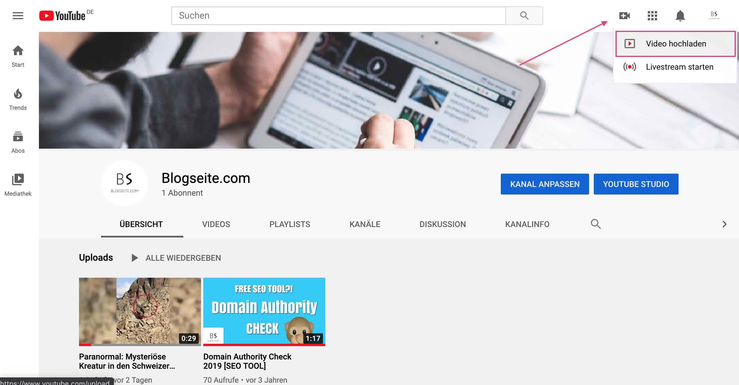 Youtube Account Video hochladen