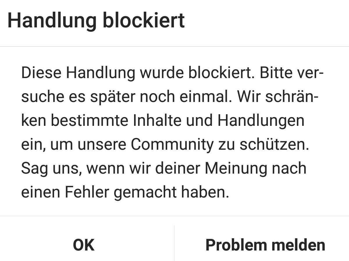 Handlung Blockiert Instagram