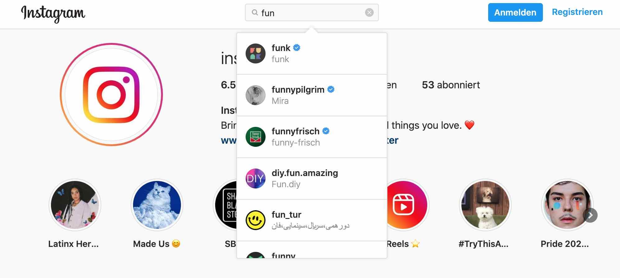 instagram suche ohne Anmeldung nutzen