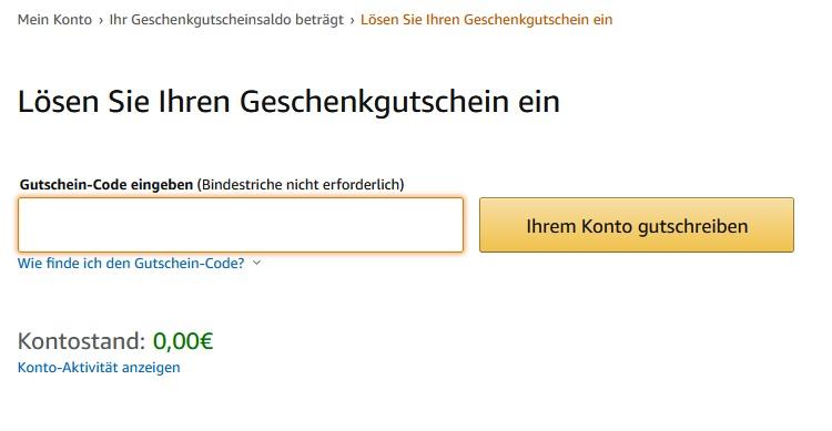 Amazon Gutschein einlösen