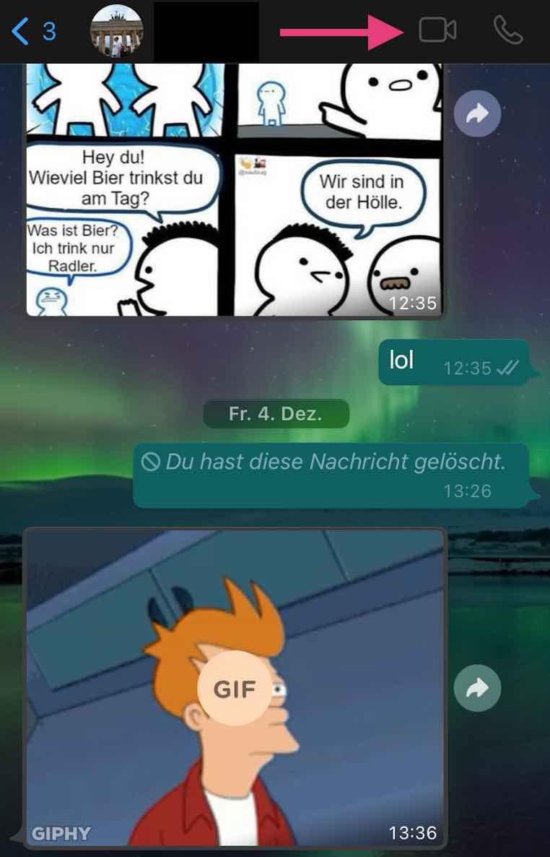 Videoanruf bei Whatsapp starten